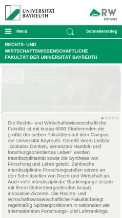 Vorschau der mobilen Webseite www.rw.uni-bayreuth.de, Rechts- und Wirtschaftswissenschaftliche Fakultät der Universität Bayreuth
