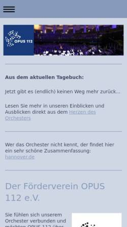 Vorschau der mobilen Webseite opus112.de, Opus 112 - Sinfonisches Blasorchester der Feuerwehr Hannover