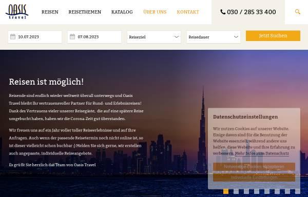 Vorschau von www.oasistravel.de, Oasis Travel GmbH