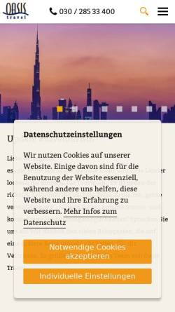 Vorschau der mobilen Webseite www.oasistravel.de, Oasis Travel GmbH