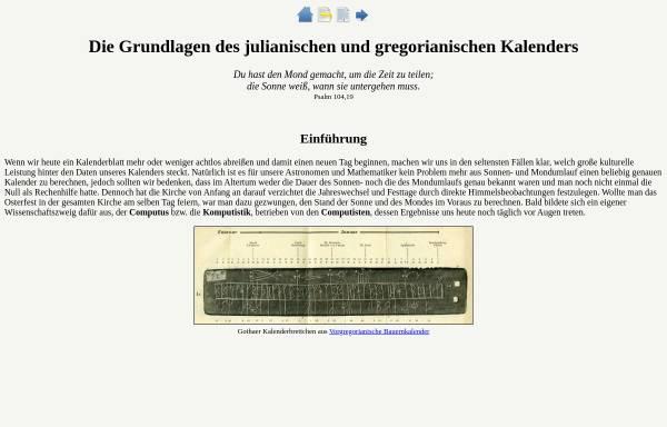 Vorschau von www.computus.de, Die Grundlagen des julianischen und gregorianischen Kalenders