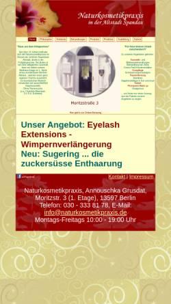 Vorschau der mobilen Webseite www.naturkosmetikpraxis.de, Naturkosmetikpraxis Grusdat