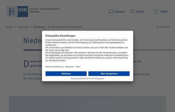 Vorschau von www.hannover.ihk.de, Niedersächsische Wirtschaft by IHK Hannover