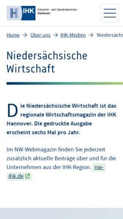 Vorschau der mobilen Webseite www.hannover.ihk.de, Niedersächsische Wirtschaft by IHK Hannover
