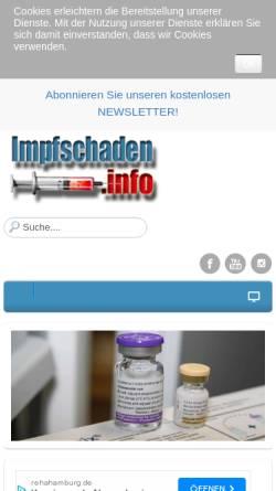 Vorschau der mobilen Webseite www.impfschaden.info, Impfen Pro und Contra