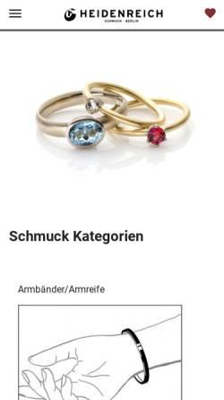 Vorschau der mobilen Webseite www.heidenreich-schmuck.de, Heidenreich Schmuck