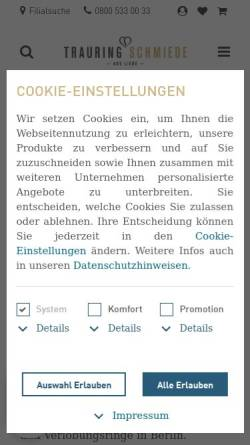 Vorschau der mobilen Webseite www.trauringschmiede.de, Trauringschmiede
