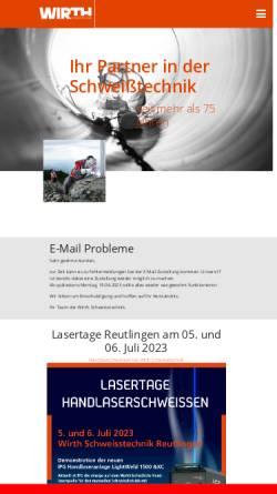 Vorschau der mobilen Webseite www.wirth-schweisstechnik.de, Schweisstechnik Oerlikon Wirth GmbH & Co. KG