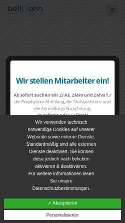 Vorschau der mobilen Webseite www.zahnarzt-bellmann.de, Dr. med. dent. Frank Bellmann und Zahnärztin Maren Bellmann - Praxis für Zahnheilkunde