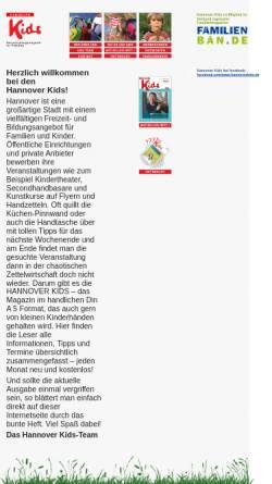 Vorschau der mobilen Webseite www.hannoverkids.de, Hannover Kids - Hannover Kids e.V.