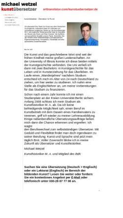 Vorschau der mobilen Webseite www.arttranslator.com, Michael Wetzel