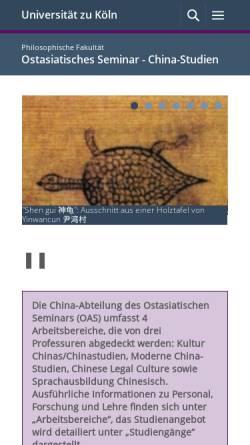 Vorschau der mobilen Webseite www.china.uni-koeln.de, China-Studien an der Universität zu
