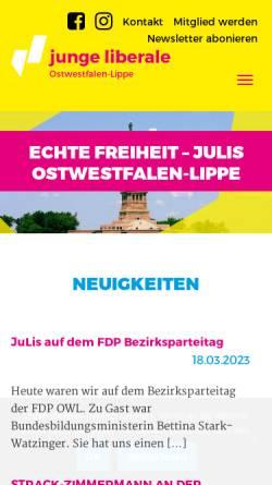 Vorschau der mobilen Webseite owl.julis.de, JuLis - Junge Liberale Bezirksverband Ostwestfalen-Lippe