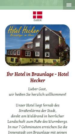 Vorschau der mobilen Webseite www.hotel-hecker-braunlage.de, Hotel Hecker