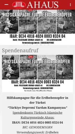Vorschau der mobilen Webseite www.moschee-ahaus.de, Aksa Moschee - Türkisch Islamische Kulturgemeinde Ahaus e.V