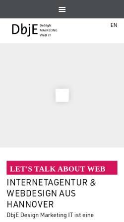 Vorschau der mobilen Webseite dbje.de, DBJE Design Marketing IT