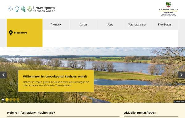 Vorschau von www.umwelt.sachsen-anhalt.de, Umweltinformationsnetz Sachsen-Anhalt (UINST)