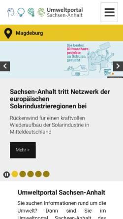 Vorschau der mobilen Webseite www.umwelt.sachsen-anhalt.de, Umweltinformationsnetz Sachsen-Anhalt (UINST)