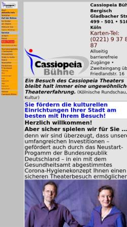 Vorschau der mobilen Webseite www.cassiopeia-buehne.de, Köln, Cassiopeia Bühne