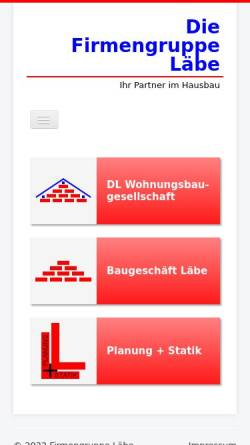 Vorschau der mobilen Webseite www.baugeschaeft-laebe.de, Baugeschäft Läbe GmbH