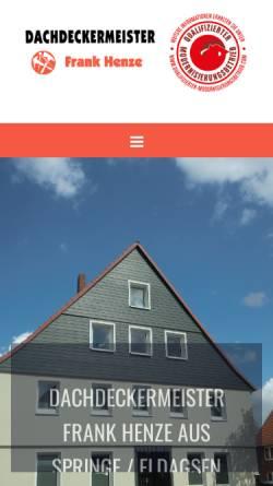 Vorschau der mobilen Webseite www.henze-dachdeckermeister.de, Dachdeckermeister Frank Henze