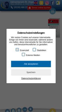 Vorschau der mobilen Webseite www.drzieger.de, Dr. med. dent. Horatiu Zieger