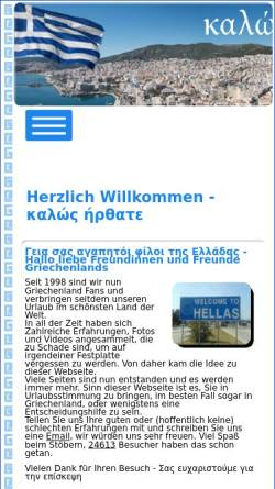 Vorschau der mobilen Webseite www.in-griechenland.de, Urlaub in Griechenland [Ela und Michael Kulla]