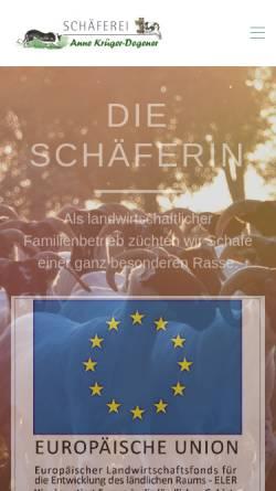 Vorschau der mobilen Webseite www.die-schaeferin.de, Degenerhof Melle - Anne Krüger-Degener