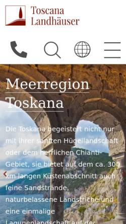 Vorschau der mobilen Webseite www.toskana.de, Toskana Landhäuser