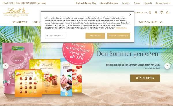 Vorschau von www.lindt.com, Chocoladefabriken Lindt & Sprüngli GmbH