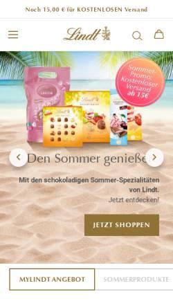 Vorschau der mobilen Webseite www.lindt.com, Chocoladefabriken Lindt & Sprüngli GmbH