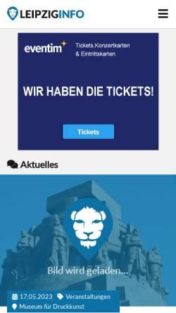 Vorschau der mobilen Webseite www.leipziginfo.de, Informationportal für Leipzig