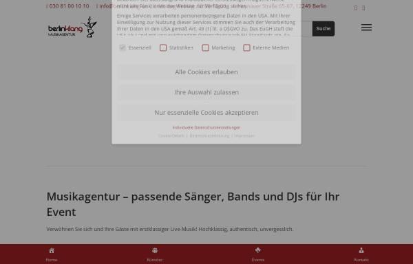 Vorschau von www.berlinklang.de, Musikagentur berlinklang GmbH
