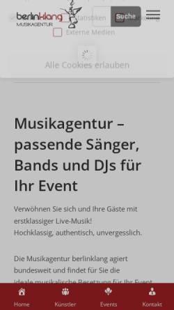 Vorschau der mobilen Webseite www.berlinklang.de, Musikagentur berlinklang GmbH