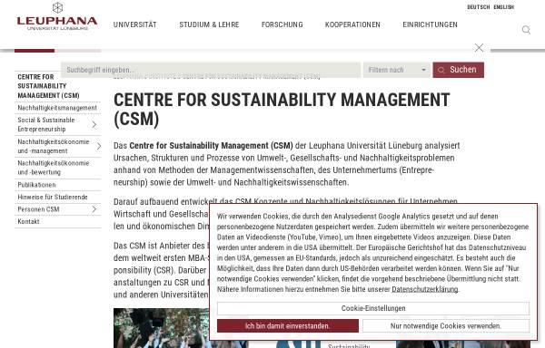 Vorschau von www.leuphana.de, Centre for Sustainability Management (CSM)