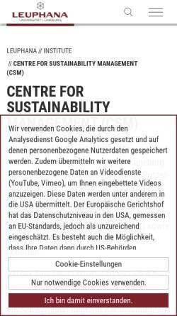 Vorschau der mobilen Webseite www.leuphana.de, Centre for Sustainability Management (CSM)