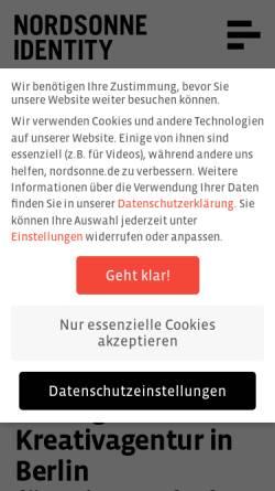 Vorschau der mobilen Webseite www.nordsonne.de, Nordsonne Identity GmbH