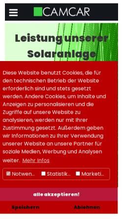 Vorschau der mobilen Webseite www.camcar.de, Camcar oHg