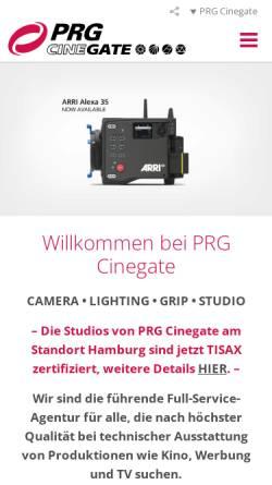 Vorschau der mobilen Webseite www.cinegate.de, Cinegate GmbH