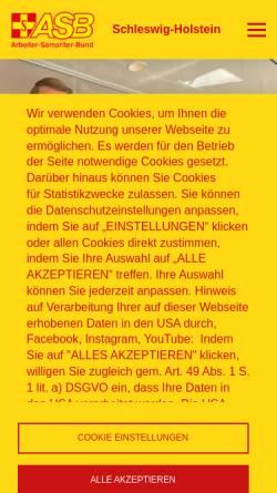 Vorschau der mobilen Webseite www.asb-kiel.org, ASB, Regionalverband Kiel