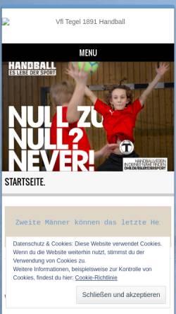 Vorschau der mobilen Webseite tegel-handball.de, VfL Tegel Handball