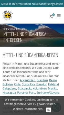 Vorschau der mobilen Webseite www.dorado-latintours.ch, Dorado Latin Tours AG
