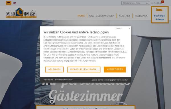 Vorschau von www.bed-and-breakfast.de, Bed & Breakfast-Privatzimmervermittlung