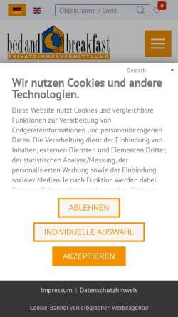 Vorschau der mobilen Webseite www.bed-and-breakfast.de, Bed & Breakfast-Privatzimmervermittlung
