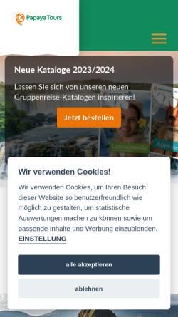 Vorschau der mobilen Webseite www.papayatours.de, Papaya Tours GmbH