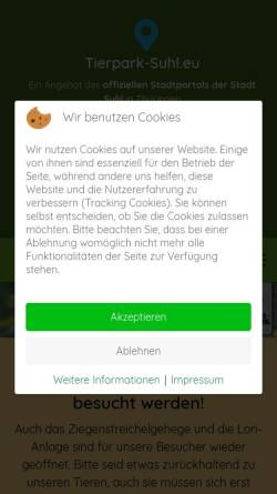 Vorschau der mobilen Webseite tierpark-suhl.eu, Tierpark Suhl