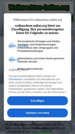 Vorschau der mobilen Webseite www.weihnachten-online.org, Weihnachten Online