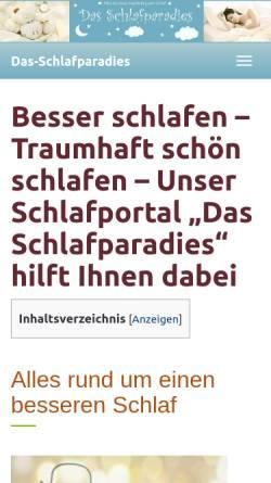 Vorschau der mobilen Webseite www.schlummerzeit.de, Schlummerzeit; Inh. H. Ganschof