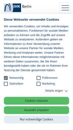 Vorschau der mobilen Webseite www.ihk-berlin.de, Industrie und Handelskammer Berlin (IHK)