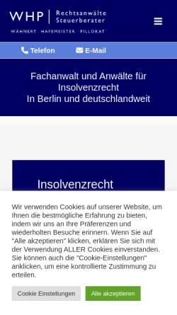 Vorschau der mobilen Webseite www.wpra.de, Wpra, Insolvenzrecht, Wirtschaftsrecht, Sanierung Berlin